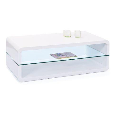 table basse design verre miko 120cm blanc