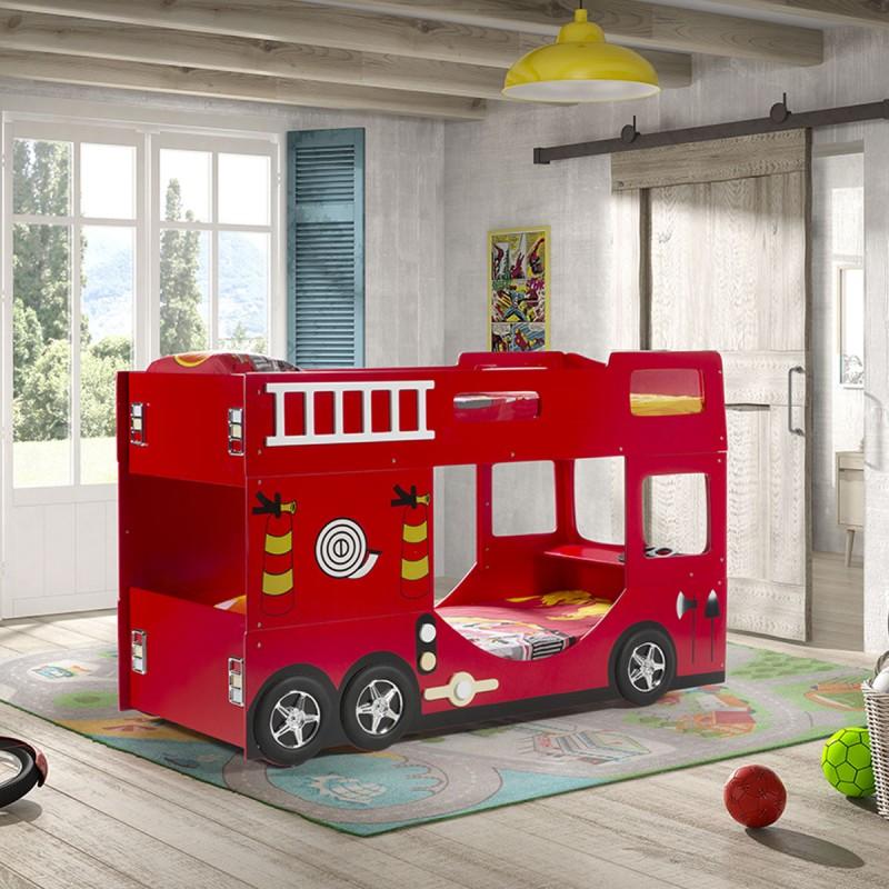 lit superpose enfant pompier rouge