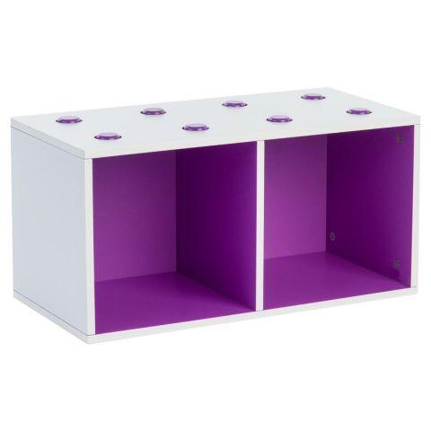 meuble de rangement empilable 2 cubes abc violet