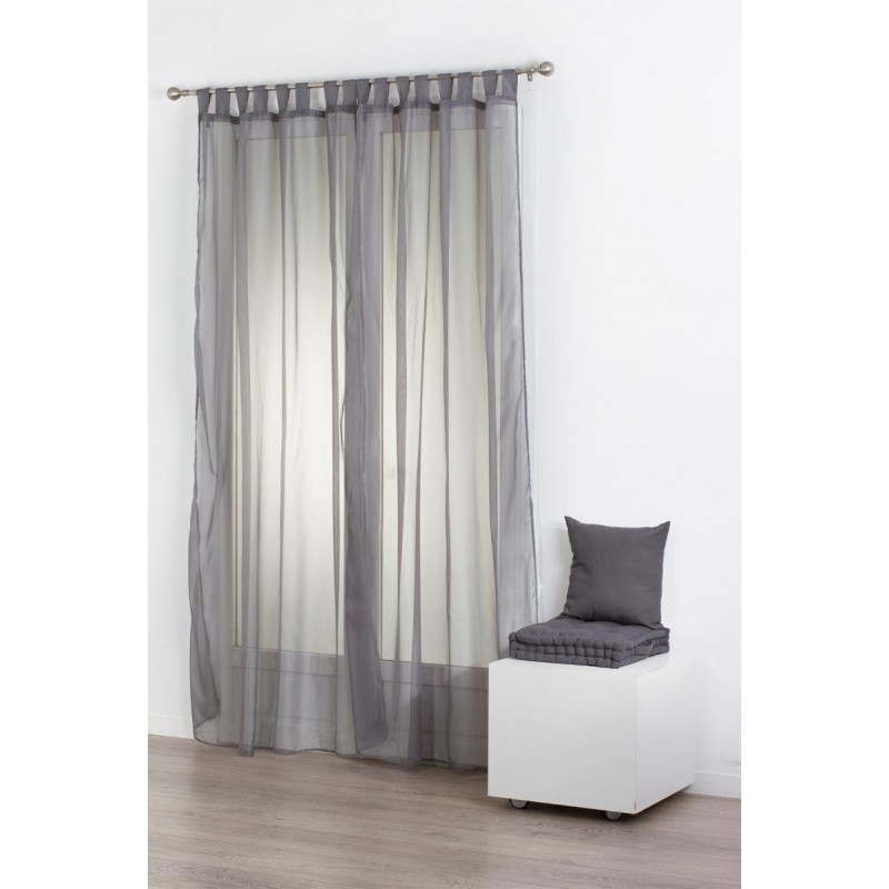 lot de 2 rideaux voilage pattes 140x240cm gris