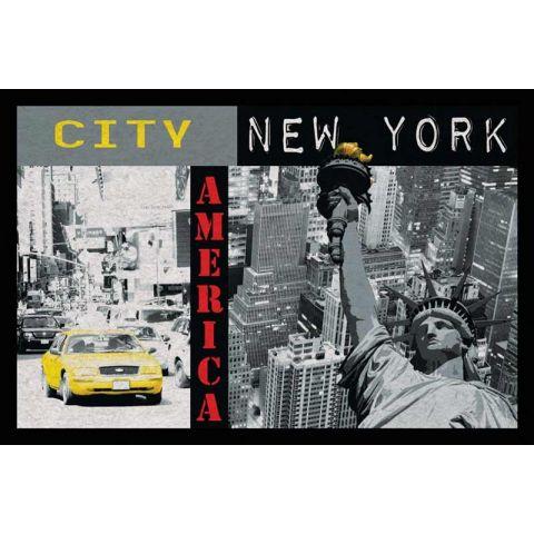 tapis rectangulaire new york 40x60cm noir