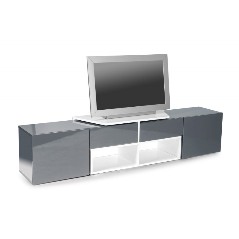 meuble tv design bunt 205cm blanc gris anthracite