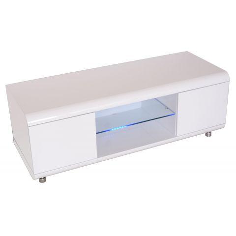 meuble tv design adan 120cm blanc brillant