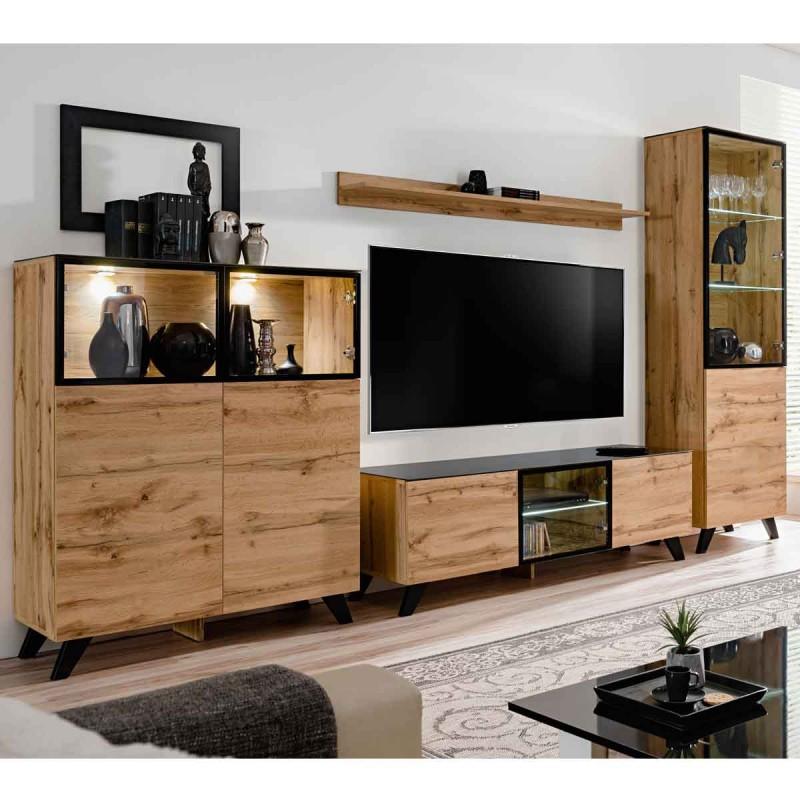 ensemble meuble tv bibliotheque thin 340cm noir naturel