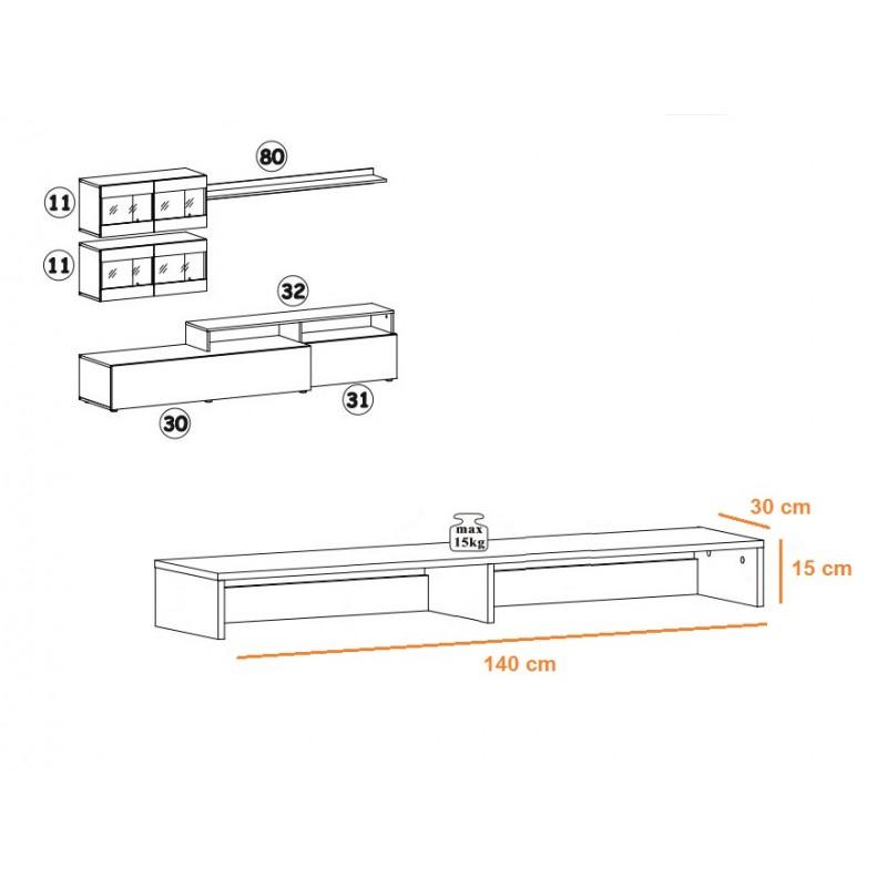 ensemble meuble tv etageres light 220cm blanc mat atelier