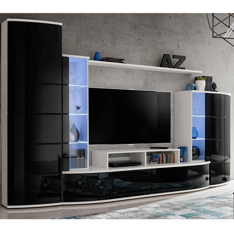 ensemble meuble tv bibliotheque leave 300cm blanc noir