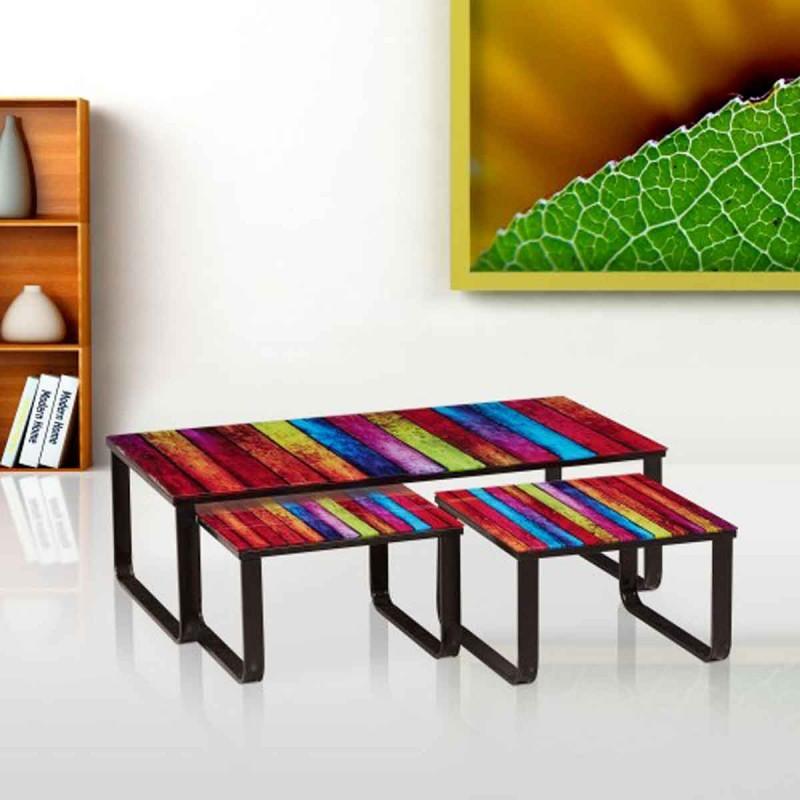 set de 3 tables basses gigognes colow multicolore