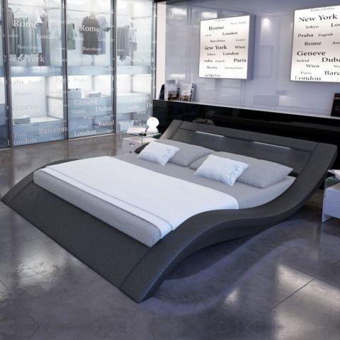 lit adulte design led donia 140x190cm noir