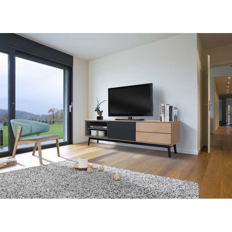 meuble tv design 1 porte 2 tiroirs toro 170cm naturel