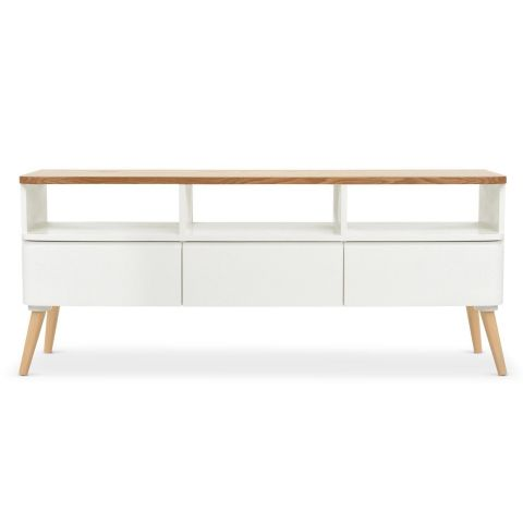 meuble tv scandinave arvika 120cm blanc