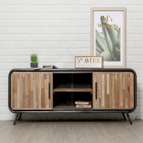 meuble tv en teck industriel 2 portes fusion 150cm naturel