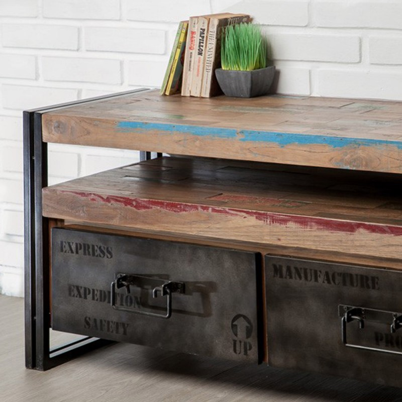 meuble tv en teck industriel 2 tiroirs loft 110cm marron