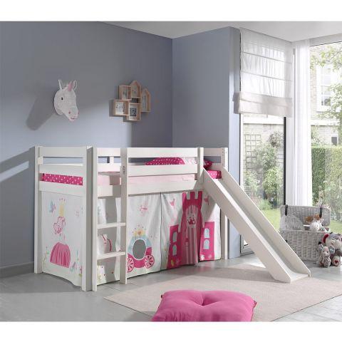 lit enfant avec toboggan pino princesse blanc