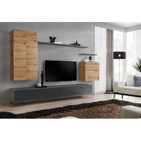 meuble tv mural design switch ii 270cm naturel gris