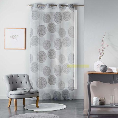 rideau voilage romana 140x240cm blanc noir