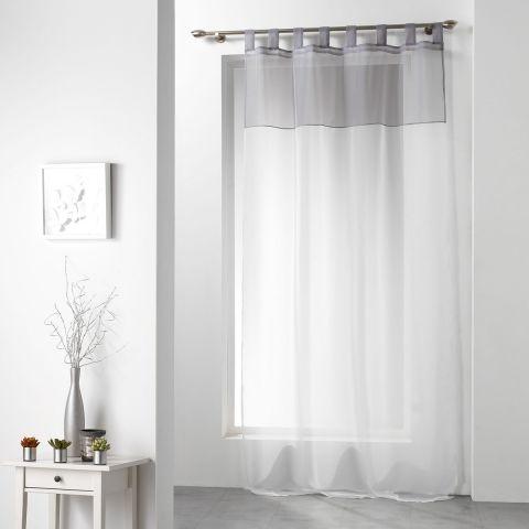 rideau voilage duo 140x240cm blanc gris