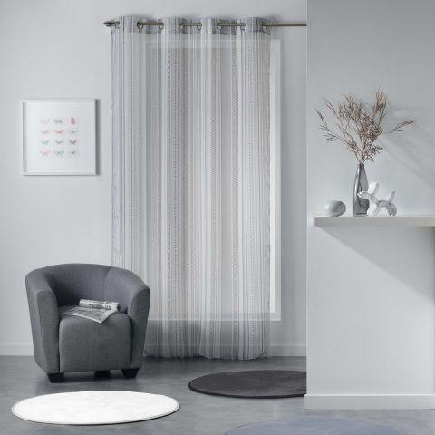 rideau voilage analea 140x240cm noir blanc