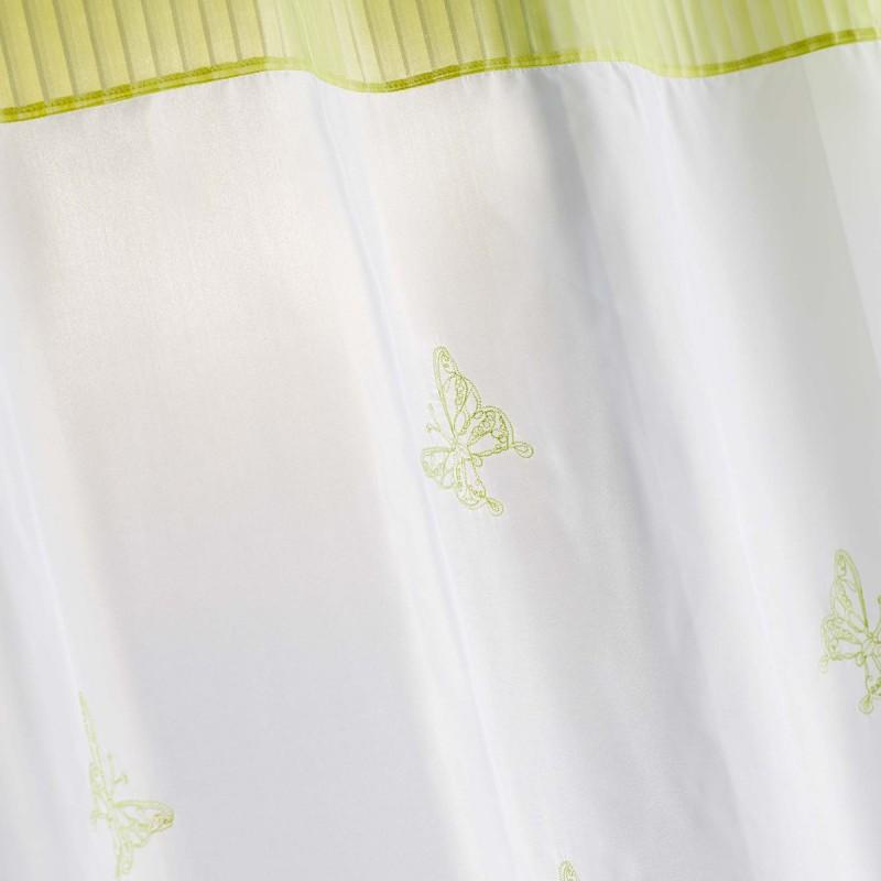 rideau voilage brode chrysalide 140x240cm vert anis