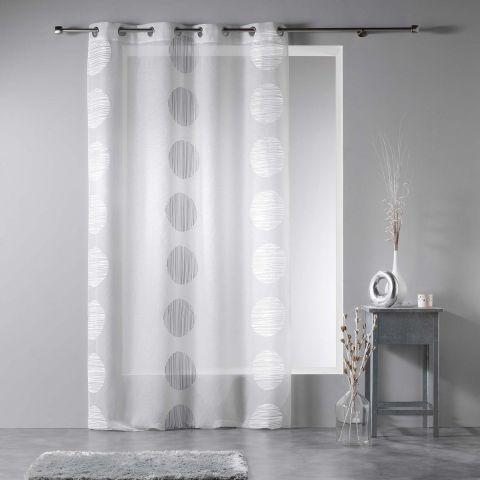 rideau voilage rondina 140x240cm blanc gris