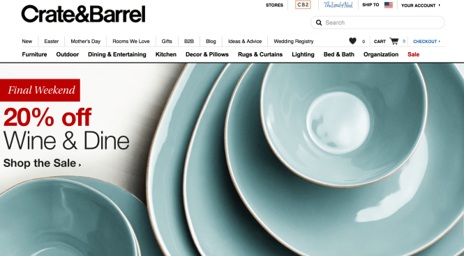Crate and Barrel mobilier