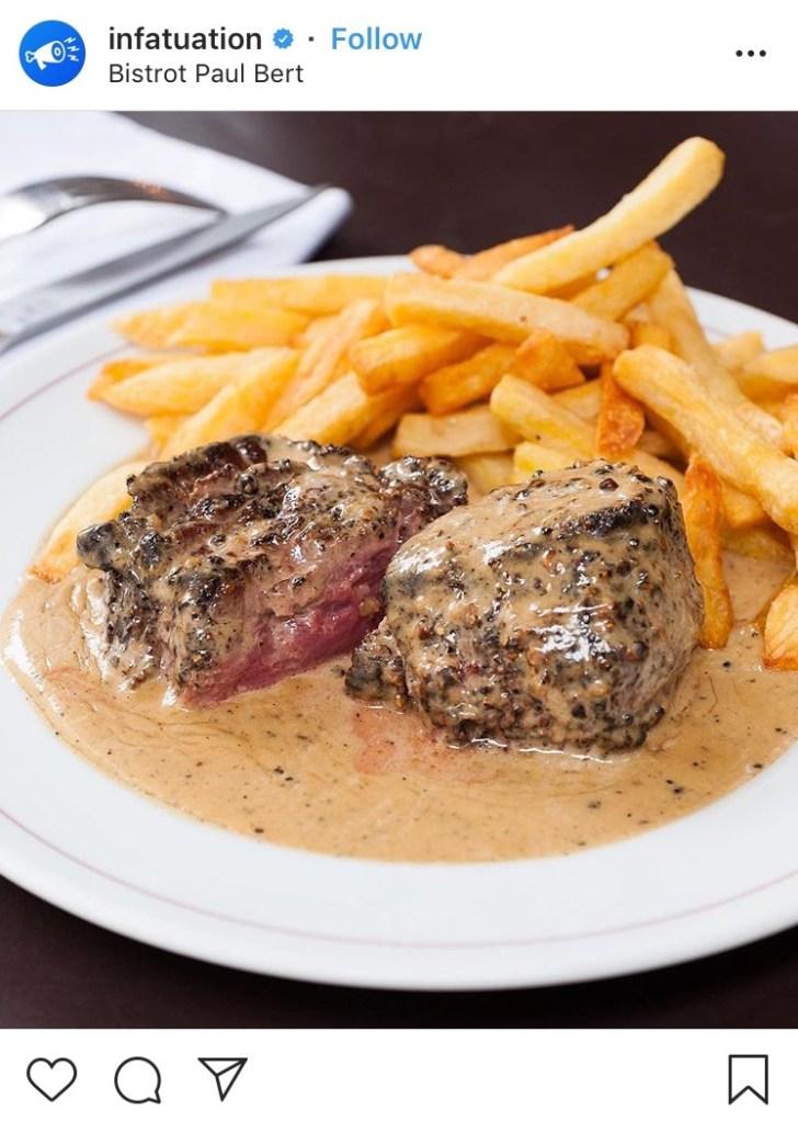 Bistrot Paul Bert steak au poivre Meilleur bistrot de Paris Classique français