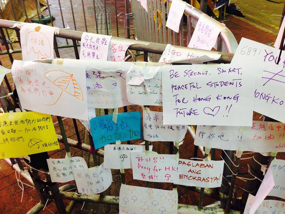 Messages from and to protesters. Photo Credit: Chi Yi Chow