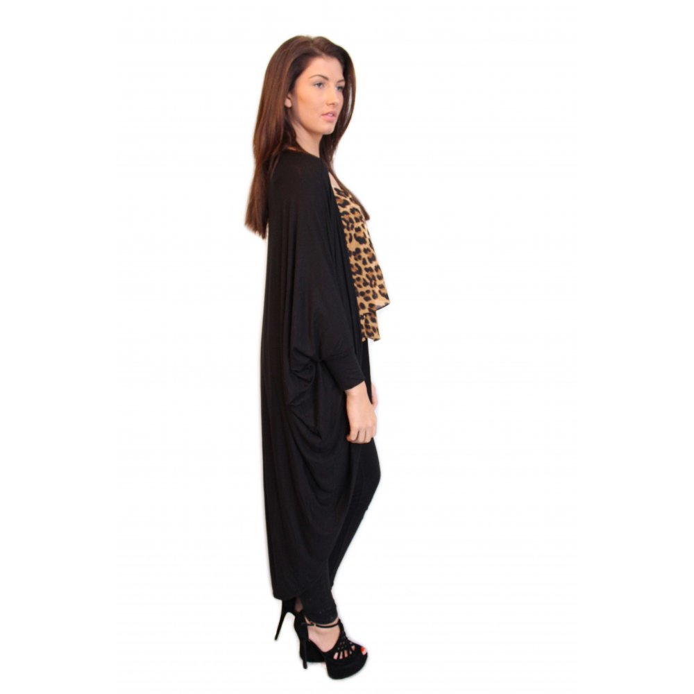 Emmie Black Long Length Black Draped Jersey Cardigan From