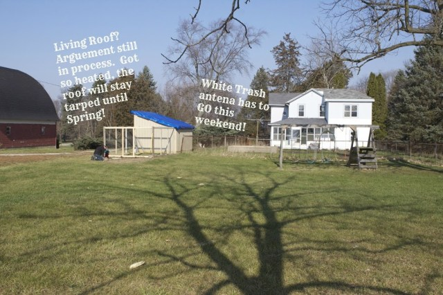 wide shot of house and chicken house with overlaying text