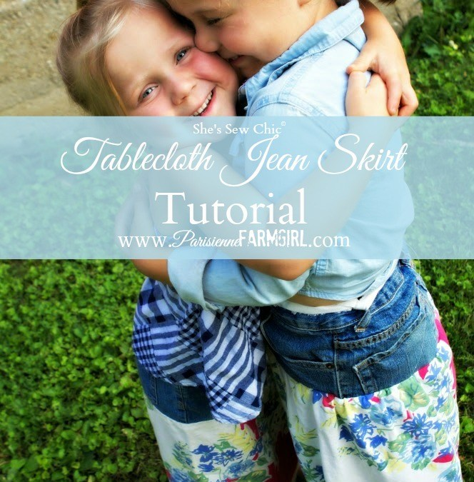 She's Sew Chic – Tablecloth Jean Skirt Tutorial