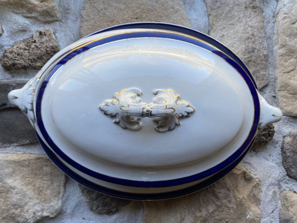 Crazed Dish with lid and platter