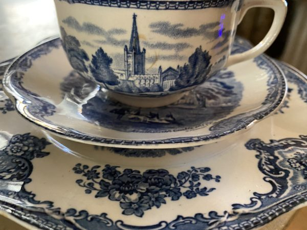 English Blue Transferware Cup, Saucer and Plate