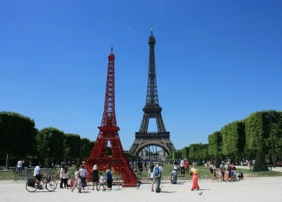 A Red Eiffel Tower  Paris Perfect
