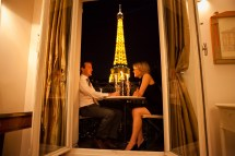 Hotel with Balcony View of Eiffel Tower Paris