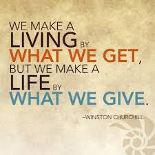 giving quote by Winston Churchill