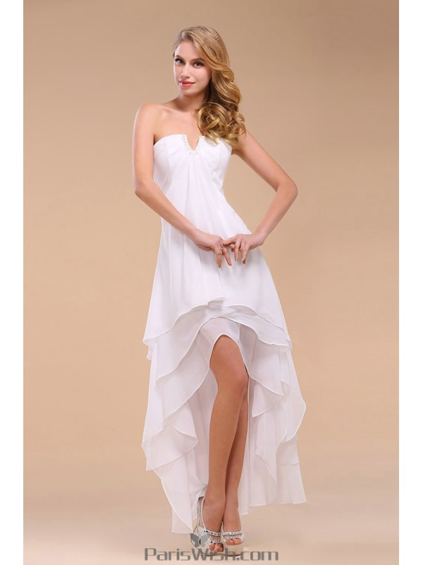 Tiered Chiffon Strapless High Low White Prom Dresses Beach