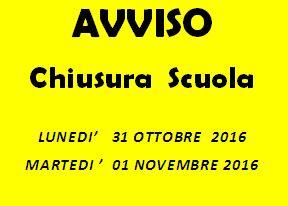 chiusura scuola  31 ottobre e 1 novembre 2016
