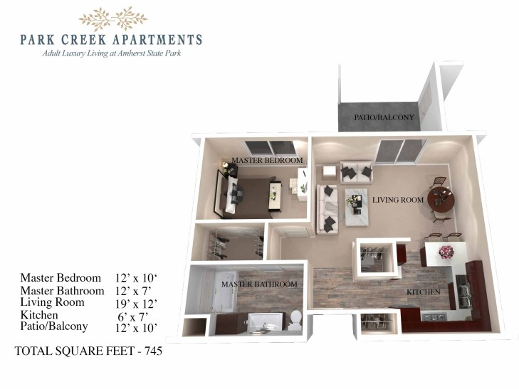 1 and 2 bedroom units ranging from 745 - 1091 sq ft.