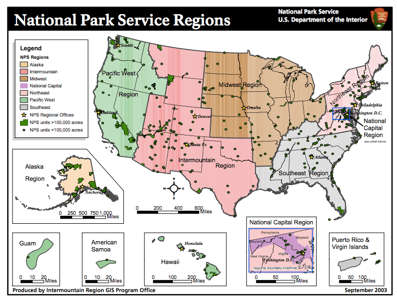 Map courtesy of the National Park Service - http://www.nps.gov/gis/documents/nps_regions_11x8-5-new.pdf