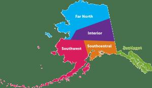Regions of Alaska Map - Map courtesy of RV Alaska.