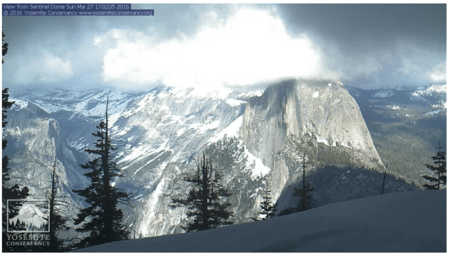 This webcam, located at about 8,000 feet in elevation, shows Half Dome and the surrounding high country - Image courtesy of Yosemite Conservancy and Yosemite National Park