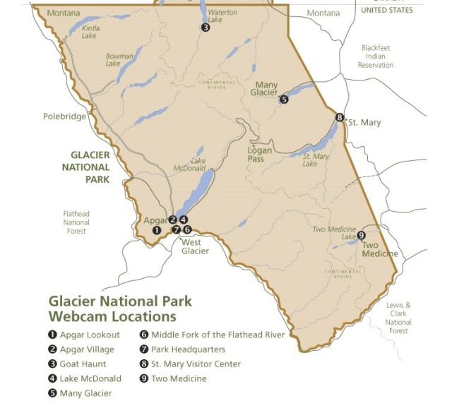 Map of Glacier National Park Webcams - Map from: https://www.nps.gov/glac/learn/photosmultimedia/webcams.htm