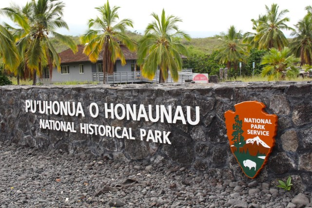 Pu'uhonua o Honaunau National Historical Park Entrance Sign