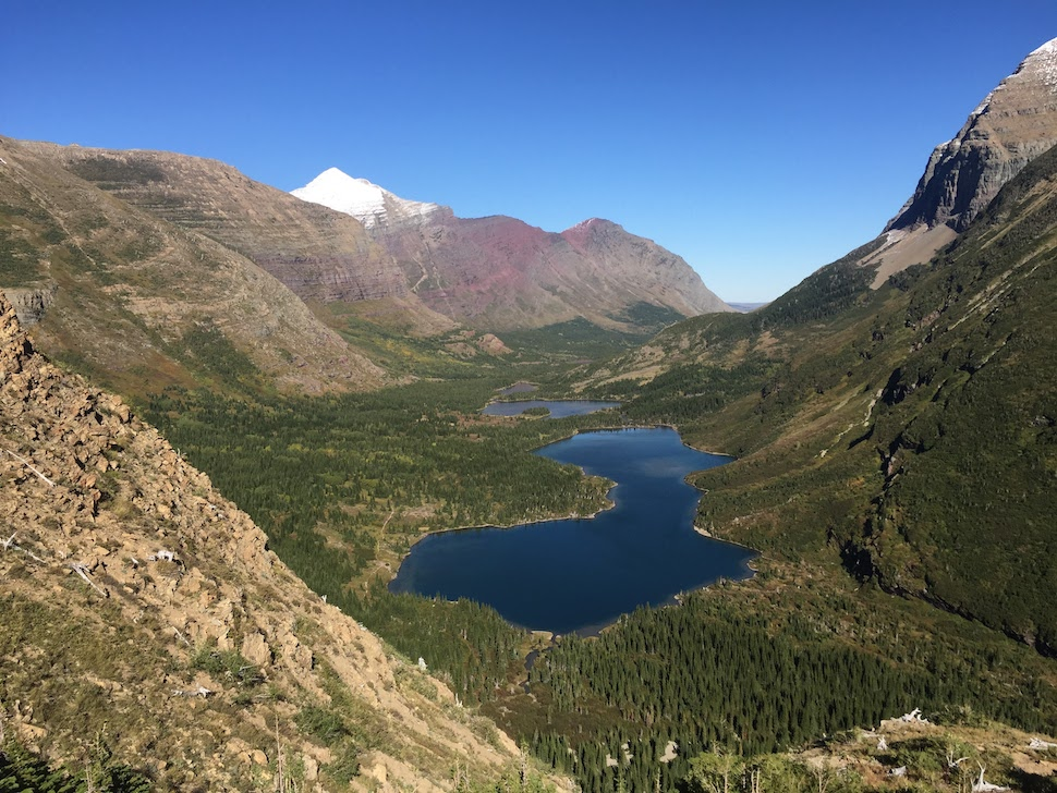 View from the Swiftcurrent Trail down to the Many Glacier area