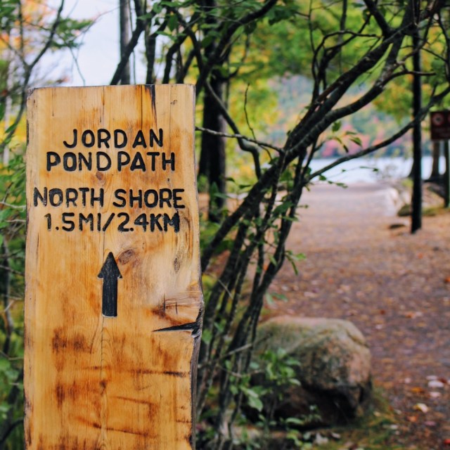 Jordan Pond Path Sign for Hiking 1.5 miles to north shore