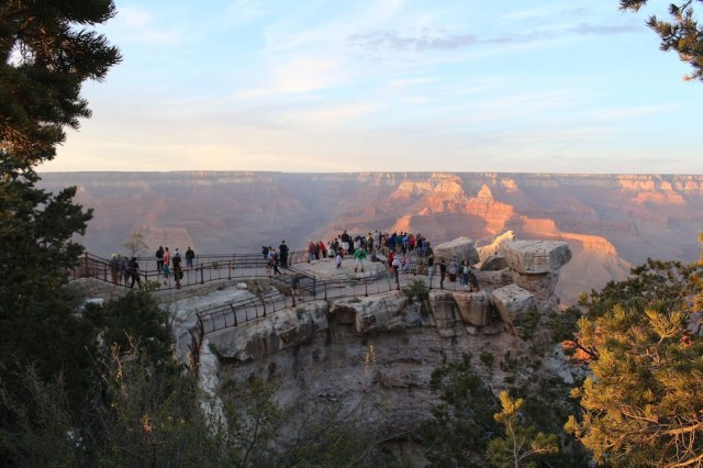 Mather Point crowds at sunset - Grand Canyon South Rim