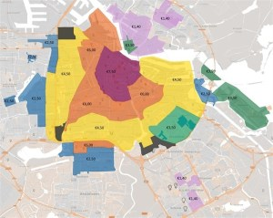 all the parking fees of amsterdam divided into zones