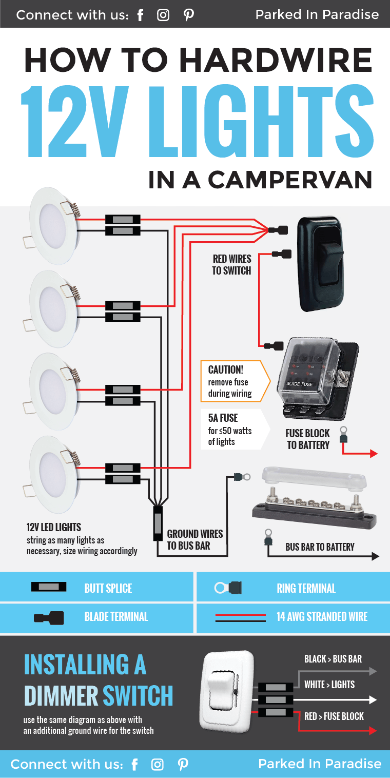 medium resolution of wiring 12v lights in an rv or campervan electric system general tips