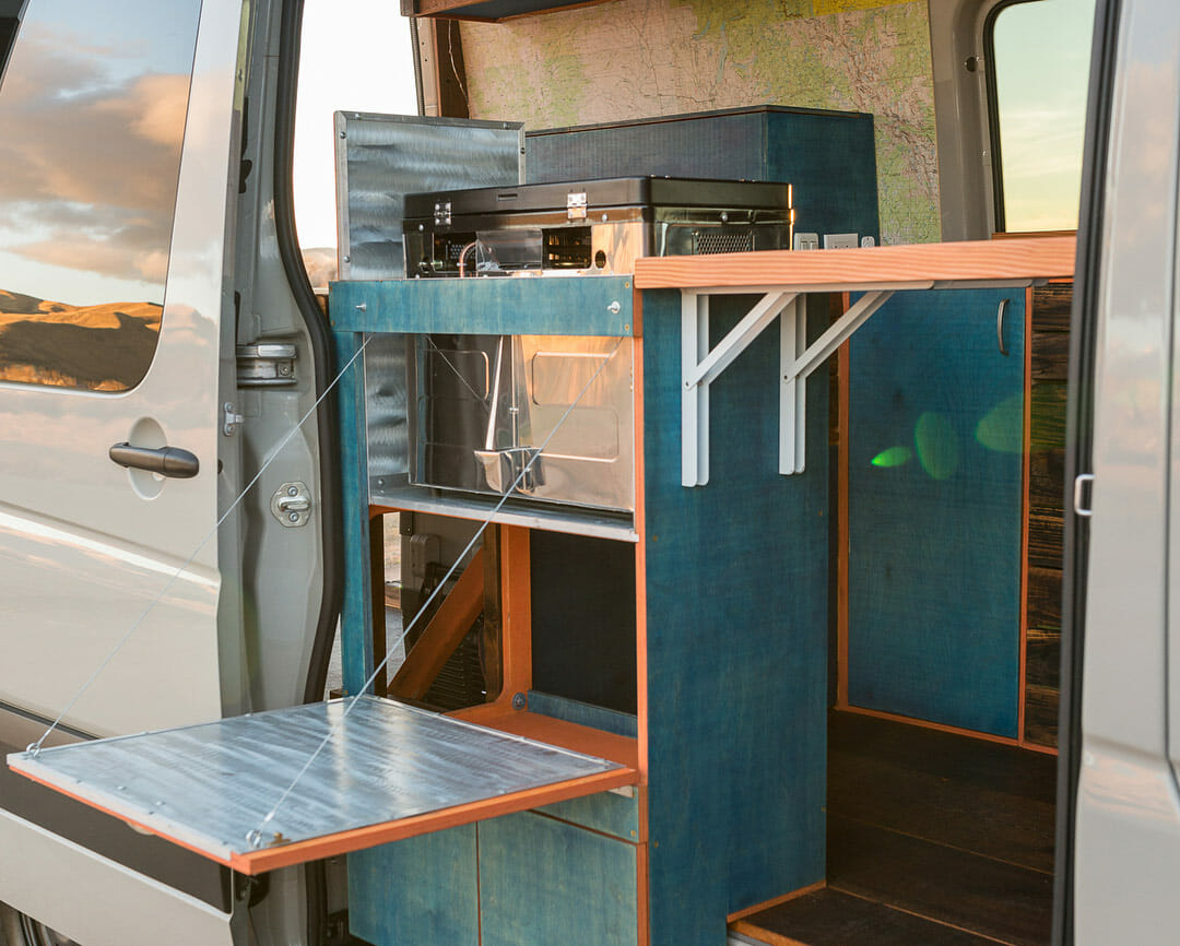 hight resolution of fold out shelving in a diy camper van conversion