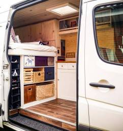 storage and organization in a vanlife campervan conversion build [ 1080 x 881 Pixel ]