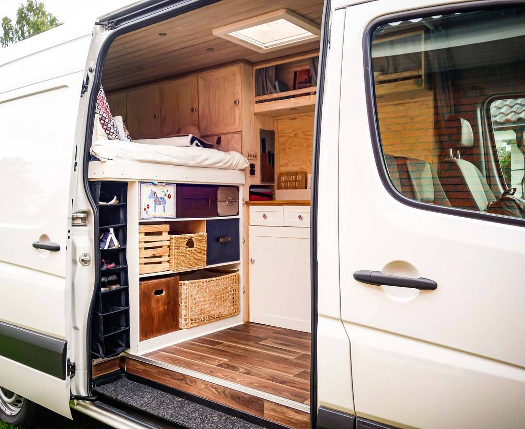 hight resolution of storage and organization in a vanlife campervan conversion build